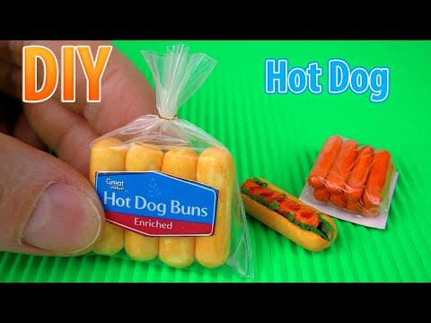 DIY Miniature Hot Dogs   DollHouse   No Polymer Clay!