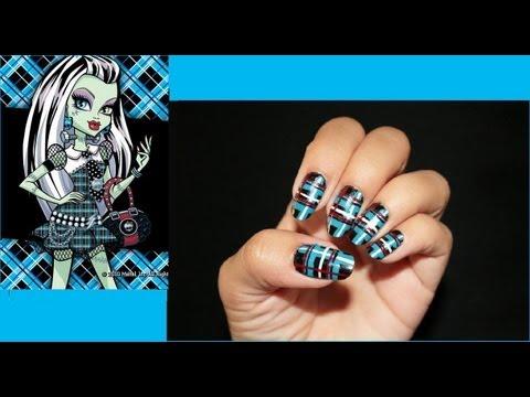 Frankie Stein Monster High Inspired Nail Art Youtube