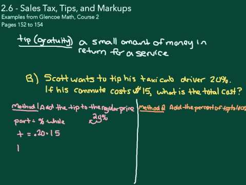 Sales Tax, Tips, and Markup - YouTube