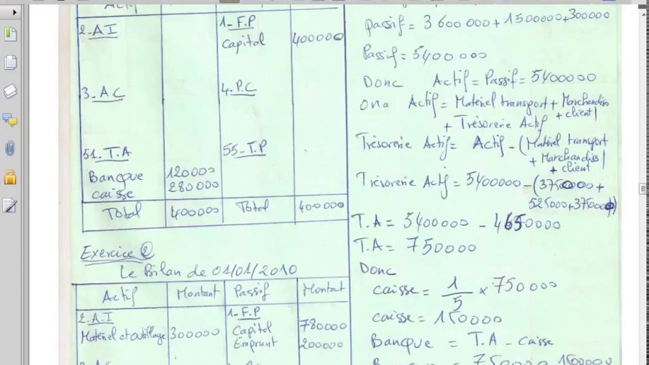 """Exercices du bilan partie 1 """" comptabilité générale S1 ..."""