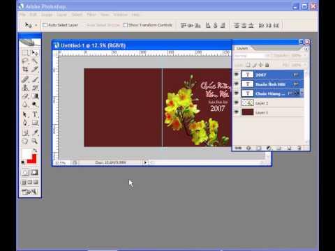 Photoshop CS2 - Phan 21 - Bai 2 - Thiet ke thiep xuan binh dan