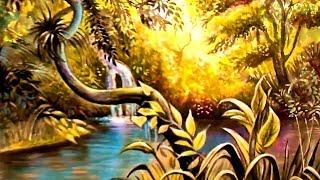Как нарисовать КРАСИВЫЙ ПЕЙЗАЖ ГУАШЬЮ ПОЭТАПНО. Как рисовать тропический лес видеоурок.