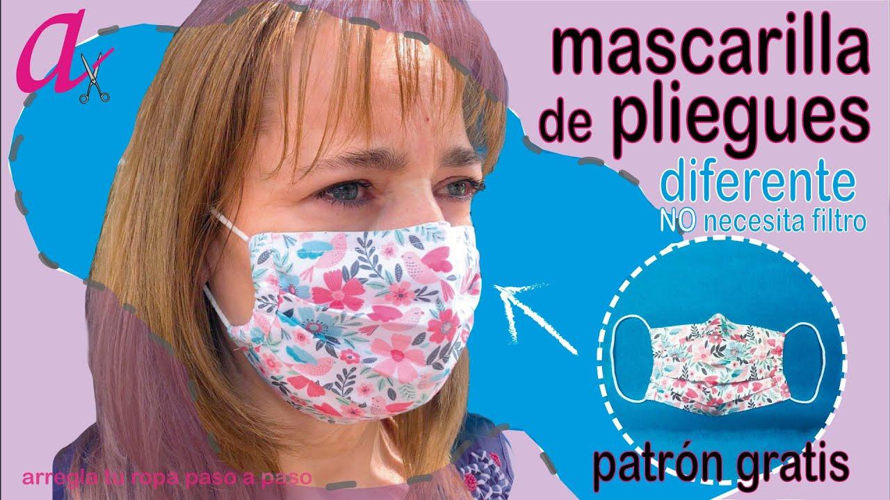 Mascarilla de pliegues, tejido HIDROFUGO, no necesita filtro. Patrón gratis.DIY FaceMask/cubrebocas.