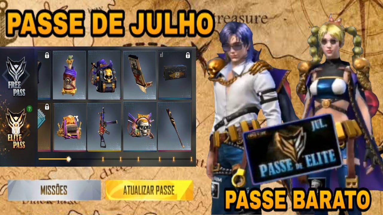 PASSE DE ELITE JULHO 2021 FREE FIRE - COMPLETO, PASSE COM DESCONTO  CONFIRMADO !! - YouTube