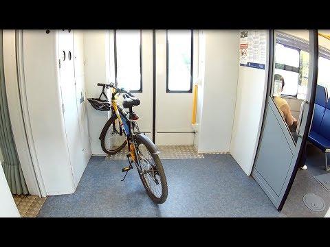 Поездка на работу на электричке с велосипедом.