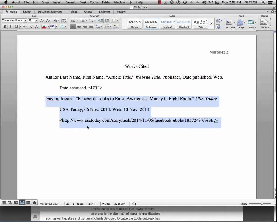 MLA Citation & in Text Citation with Web Source - YouTube