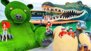 หนูยิ้มหนูแย้ม เที่ยวตลาดน้ำหมียักษ์เขียว Green Grizzly
