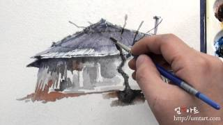 How to paint the thatched house by Um KyungHp