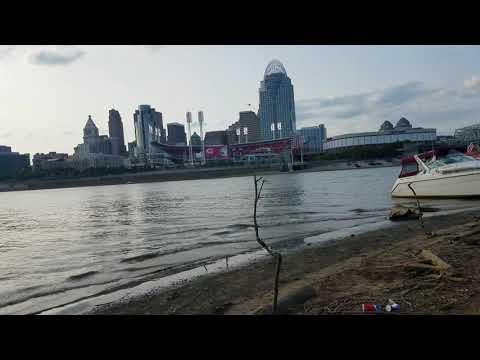 Ohio River/Licking River Confluence in Downtown Cincinnati, Ohio
