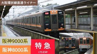 阪神9000系&8000系特急 武庫川駅通過