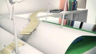 Bridge motion graphic of wind concept