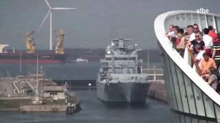 AIDAluna begegnet Marineschiffen in Ijmuiden | Schiffshorn | Navy Ships | 03.05.13