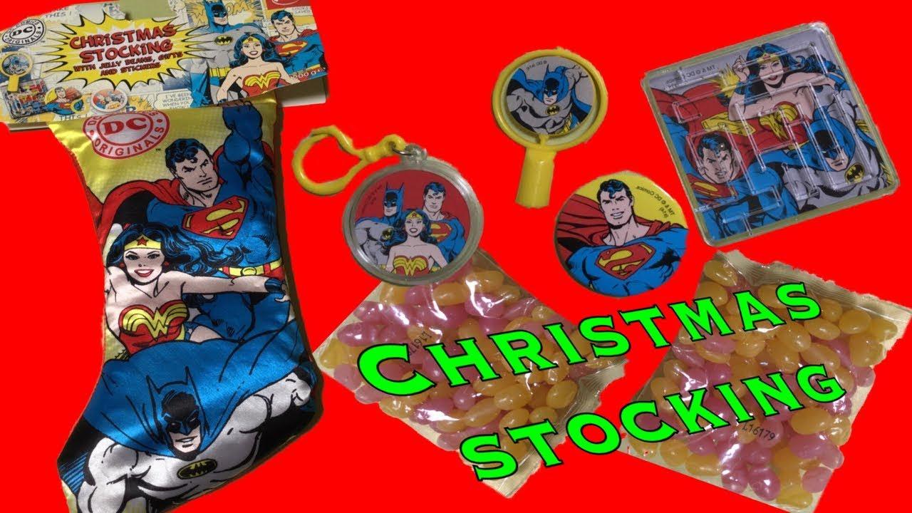 dc comics christmas stocking batman wonder woman superman toy opening
