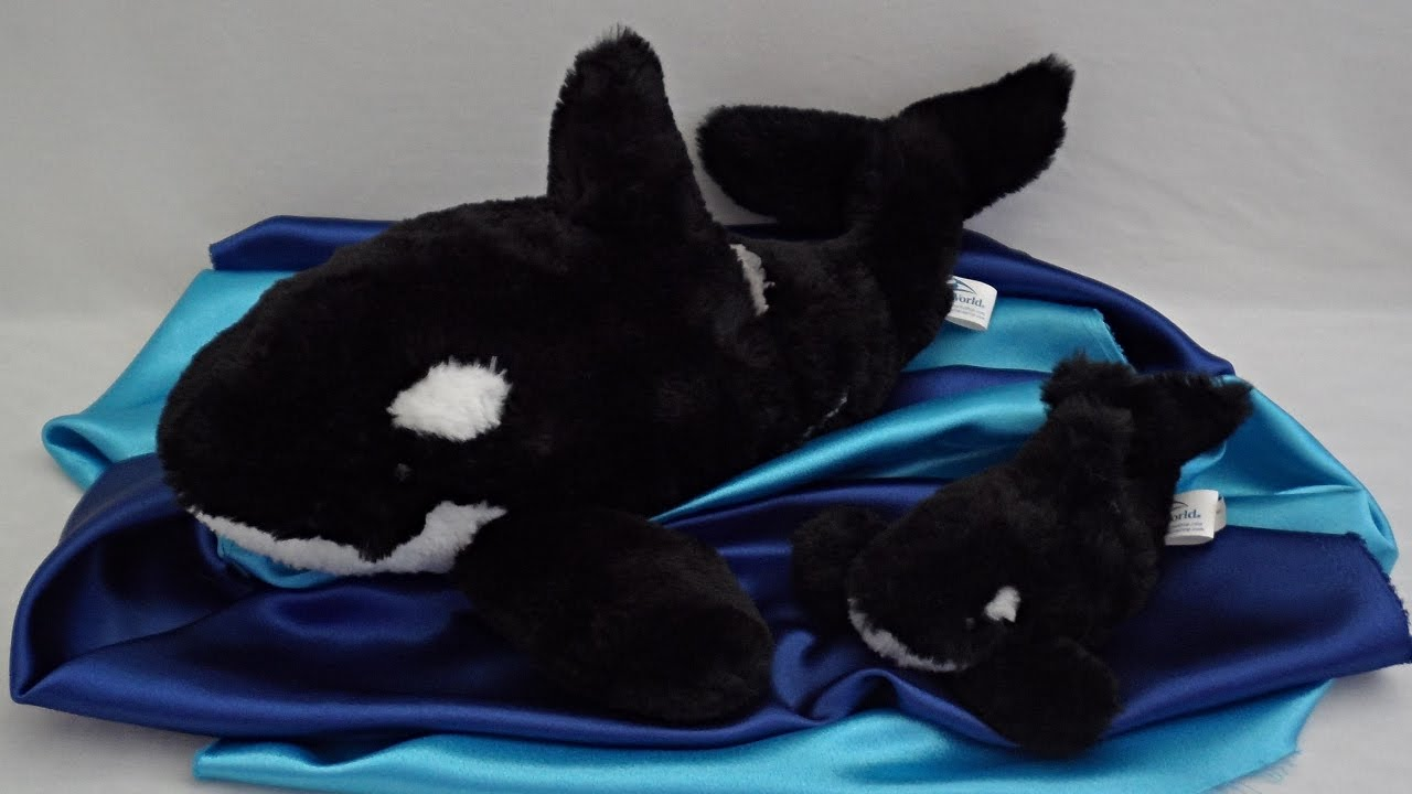 Seaworld Orca Whale Mother And Baby Plush Set