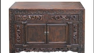 Chinese Antique Flower Carving Lacquer Lower Altar Table Tv Stand Cabinet Wk2714