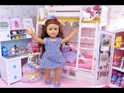 Doll Kawaii Bunk Bed Bedroom And Closet Tour With Pusheen, Squishies, Plush Toys And LOL Dolls!