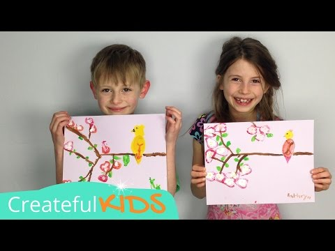 How to Paint A Bird and Cherry Blossoms--with Acrylics