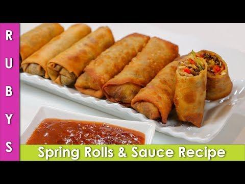 Spring Rolls with Special Sauce Recipe in Urdu Hindi - RKK