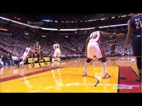 Udonis Haslem Flagrant on Hansbrough! Heat vs Pacers Game 5