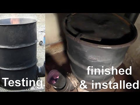 My easy no weld rocket wood stove heater complete build with burn temps and use footage.