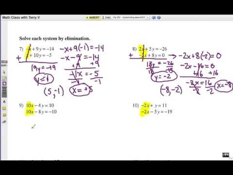 Printables Solving Systems Of Equations By Elimination Worksheet solve systems of equations elimination method youtube