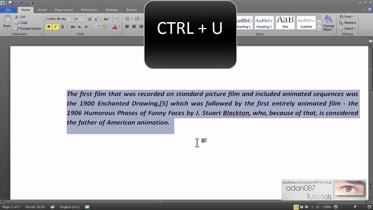 Word underline text with the keyboard - YouTube
