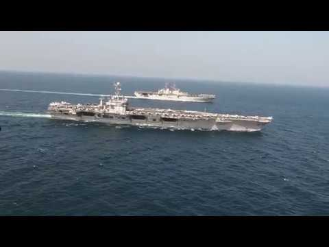 USS John C. Stennis and Essex Strike Groups conduct integrated Operations