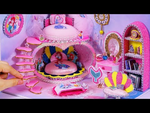 DIY Miniature Dollhouse Room ~ Cinderella and Ariel Room Decor #67