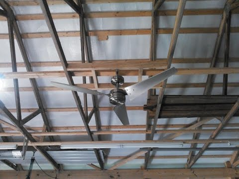 Emerson CF765BS, Loft Brushed Steel Ceiling Fan Install And Review In CHA Pole Barn By KVUSMC