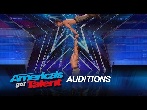 Duo Vladimir: Hand Balancers Perform With Knives - America's Got Talent 2015