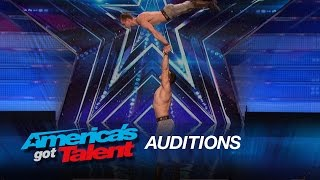 duo vladimir hand balancers perform with knives americas got talent 2015