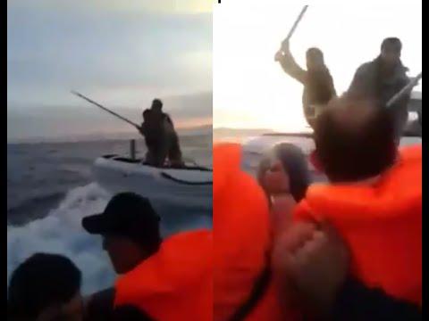 Turkish Coast Guard  trying to capsize. Syrian Refugee boat