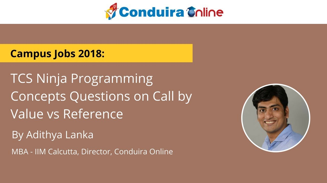 TCS Ninja Programming Concepts Questions on Call by Value vs Reference