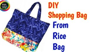 DIY Shopping Bag from Rice Bag#Best out of waste craft#Rice Bag craft idea