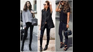 What to wear with black skinny jeans