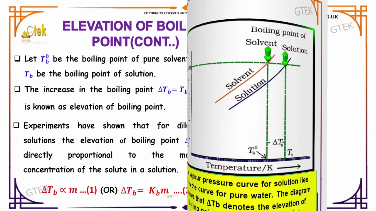 Elevation Of Boiling Point Solutions Solutions Class Chemistry - Elevation point