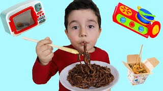 Yusuf eats Black Noodle | Funny Kids Video