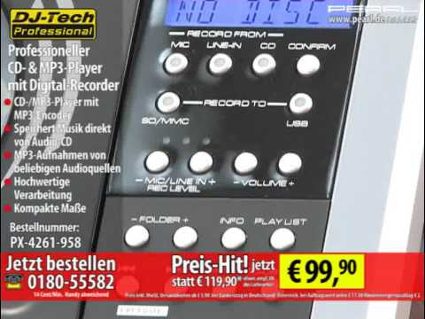 DJ-Tech Professioneller CD- & MP3-Player mit Digital-Recorder