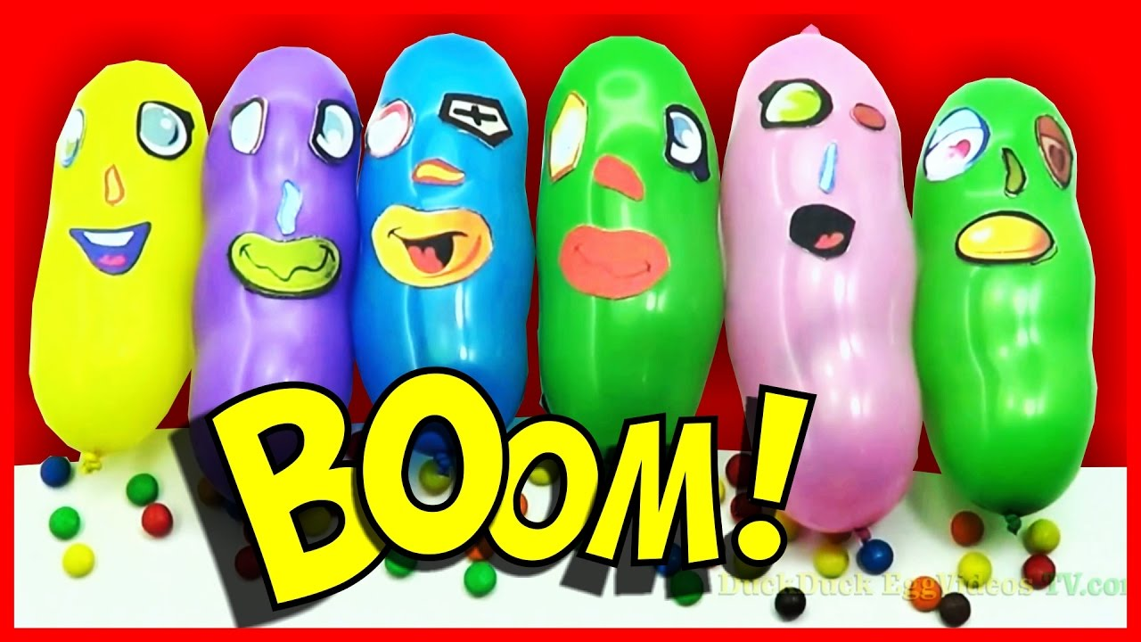 Funny balloon faces - Six Funny Faces Candy Balloon Finger Songs Learning Colours Collection