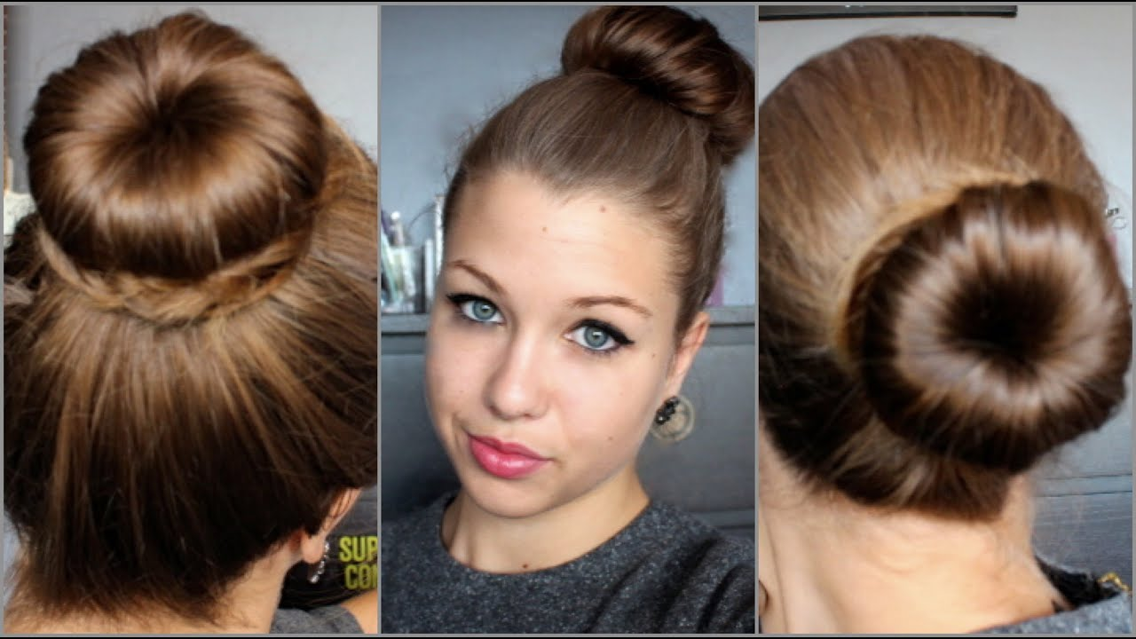 tutoriel coiffure n 19 3 chignons avec un donut youtube. Black Bedroom Furniture Sets. Home Design Ideas