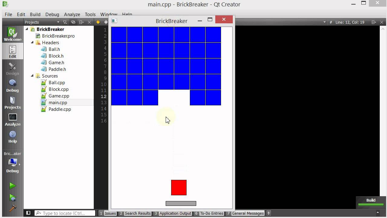 C++ Qt Breakout Game Example