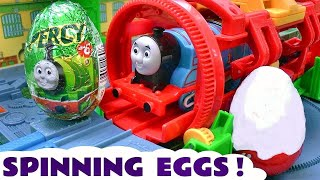 Repeat youtube video Thomas and Friends Surprise Eggs and Kinder Surprise Egg Toys Thomas y sus Amigos Huevos Sorpresa