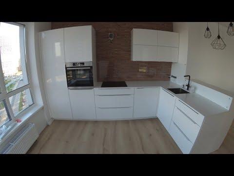 белая угловая кухня фасады белый глянец мдф покраска фурнитура