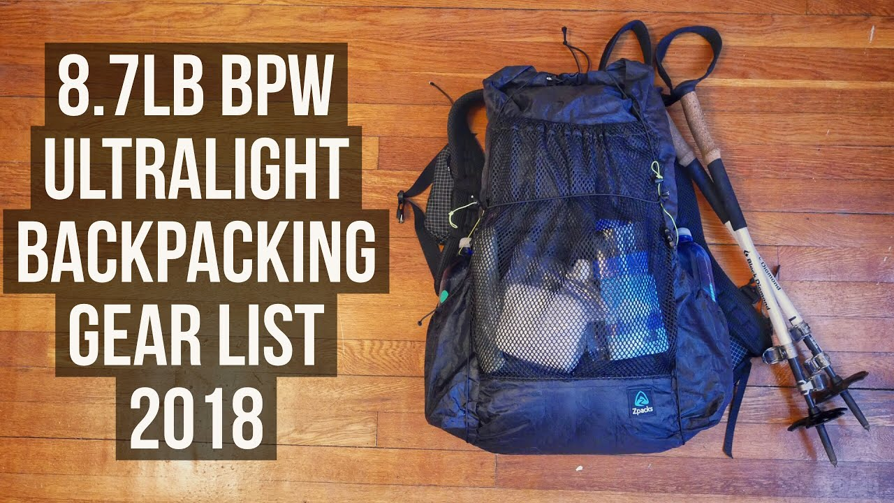 07ae5fdc0b1a 8.7lb BPW Ultralight Backpacking Gear List