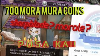 700 MORA COINS ON 3 ITEMS LETS GET THAT 4TH ENCHANT RAGNAROK MOBILE SEA