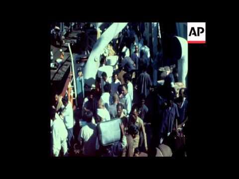 LIB 1-11-72 A SHIP FULL OF UGANDA ASIANS ARRIVES IN BOMBAY