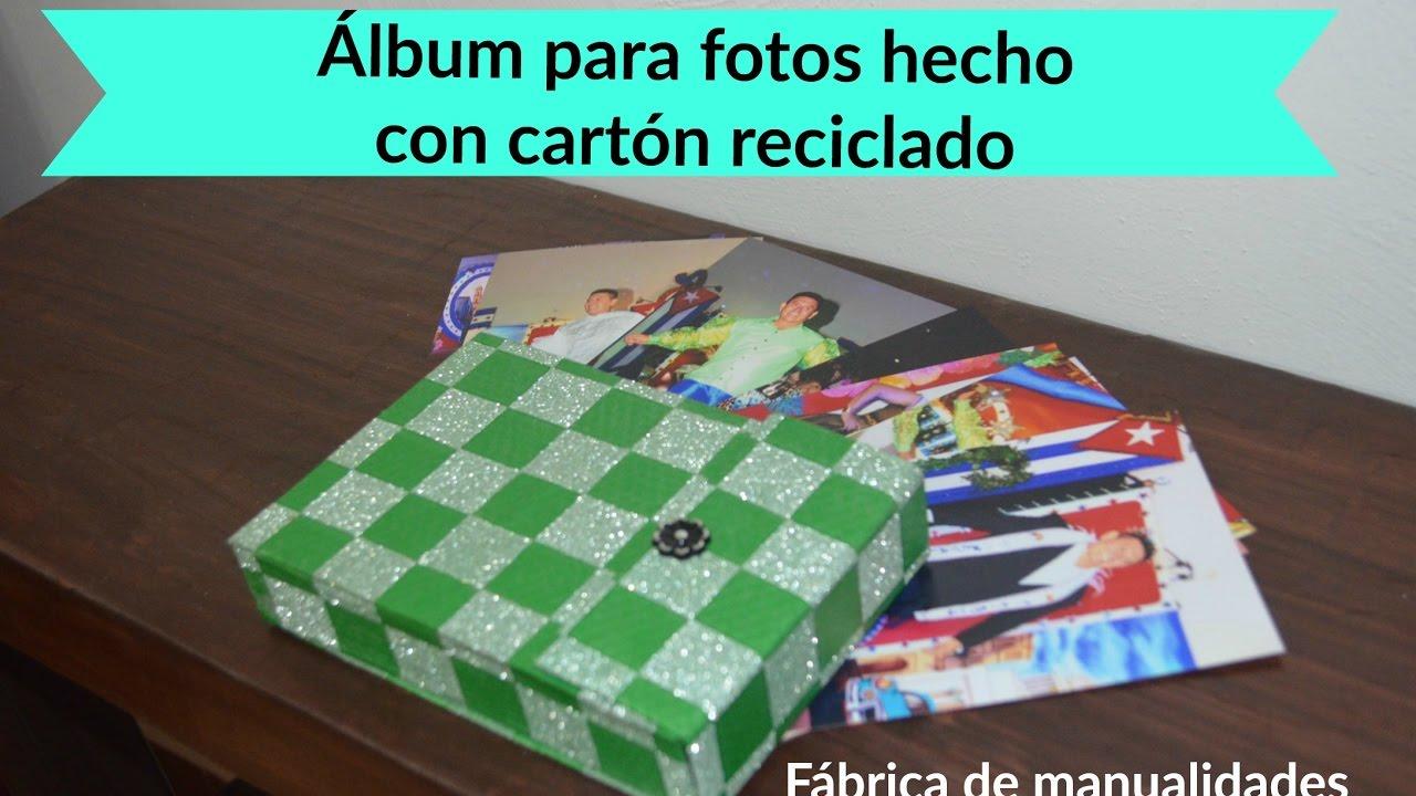 Album/caja para fotos, hecho con cartón reciclado - YouTube