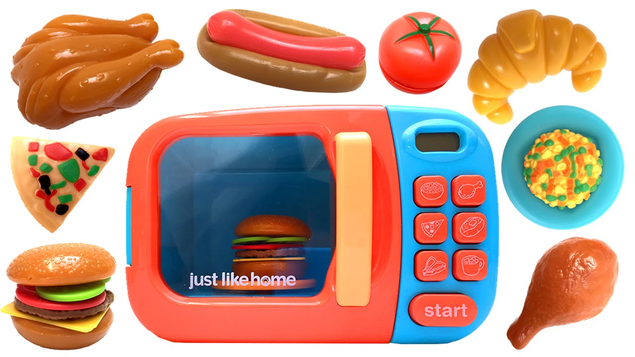 Just Like Home Microwave Oven Toy Kitchen Set Cooking Playset Food Cutting