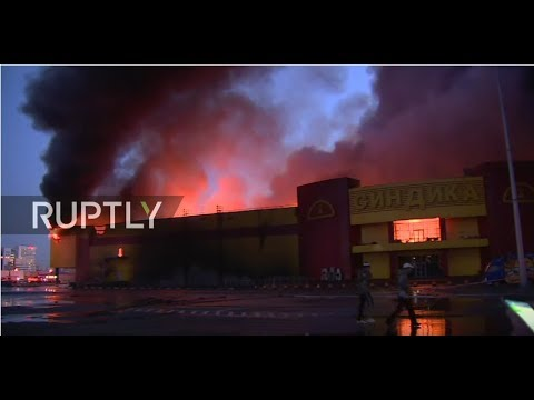 LIVE: Fire at construction market in Moscow