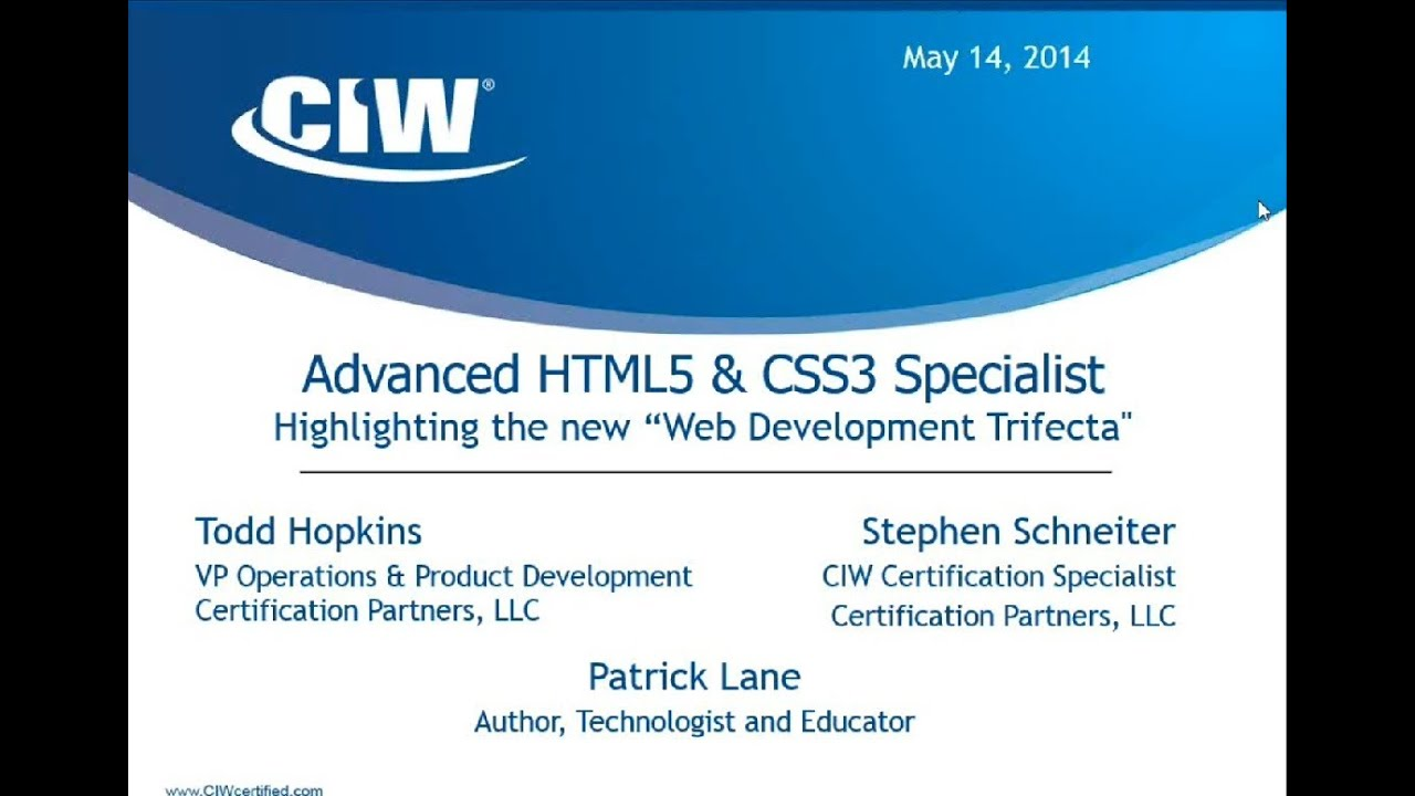 2014 05 14 08 00 Ciw Advanced Html5 Css3 Specialist Youtube